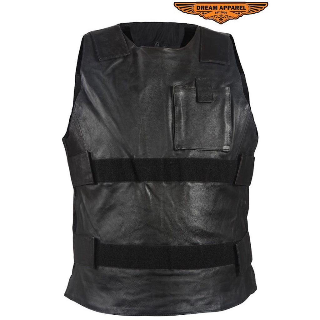 Men's Naked Leather Bullet Proof Style Motorcycle Vest Solid Back For Patches