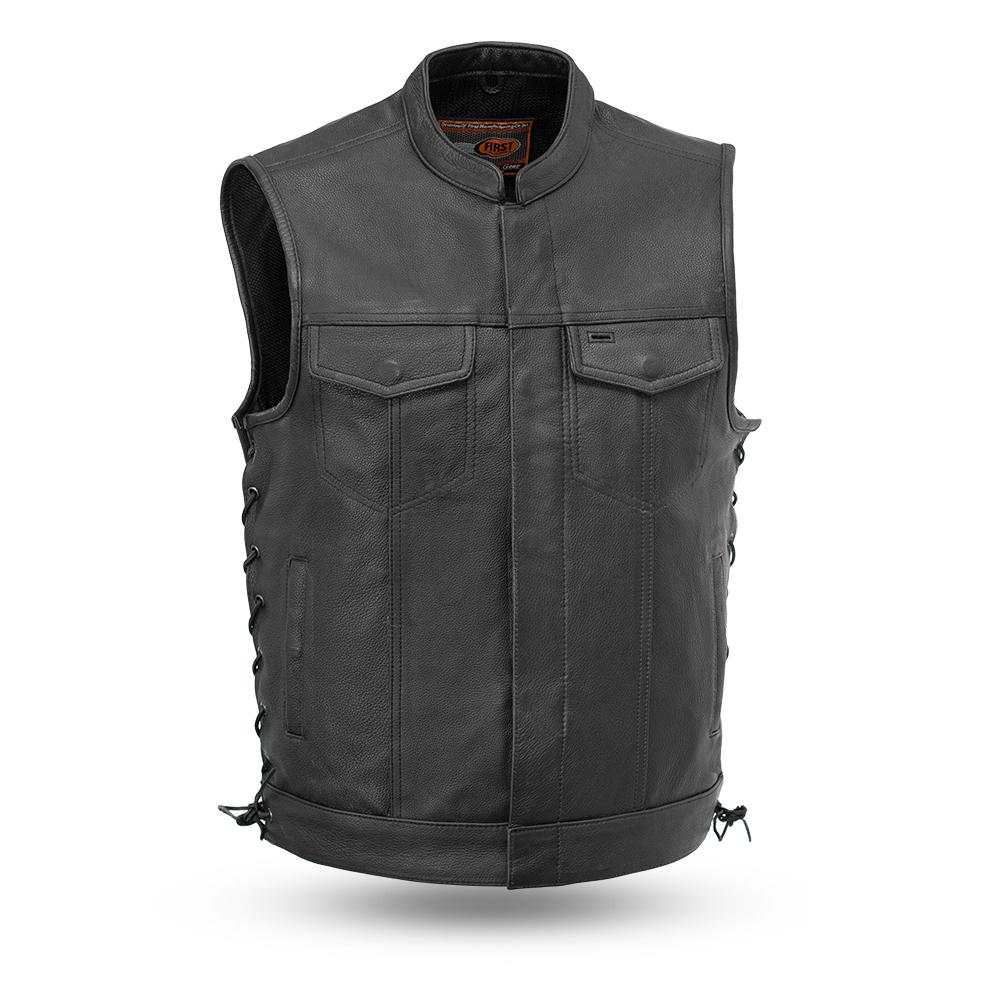 Men's Leather Club Style Motorcycle Vest With Gun Pockets Solid Back Side Laces