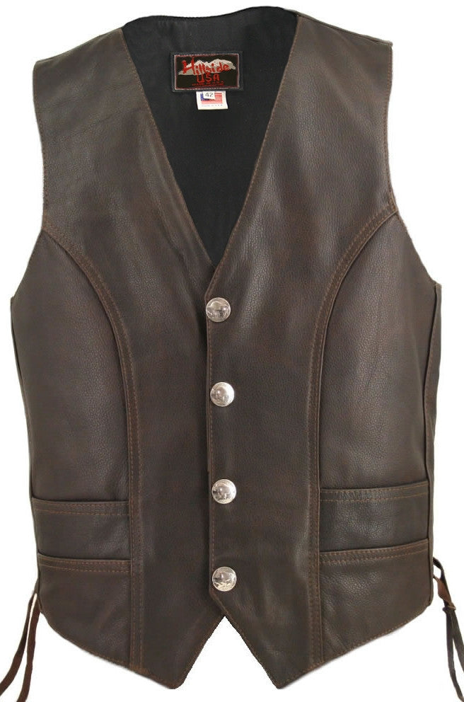 Men's Made in USA Distressed Brown Naked Leather Buffalo Nickel Motorcycle Vest Gun Pockets