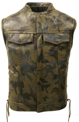 Men's Made in USA Leather Camouflage Biker Vest With Gun Pockets