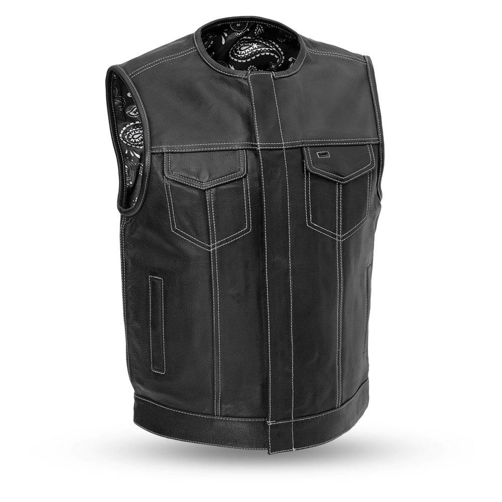 Men's Naked Leather Motorcycle Vest With Gun Pockets Solid Back With Easy Access Panels