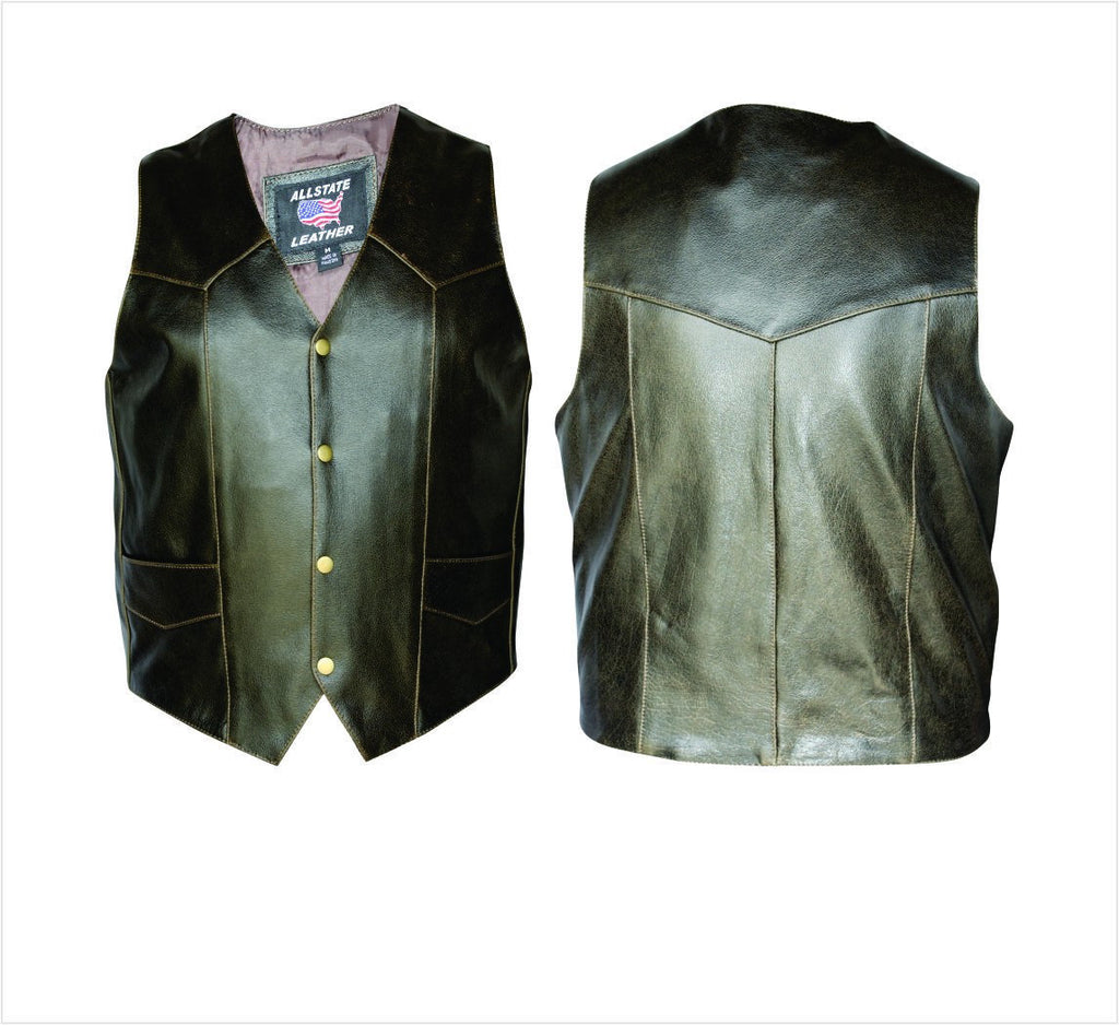 Men's Retro Brown Buffalo Leather Motorcycle Vest