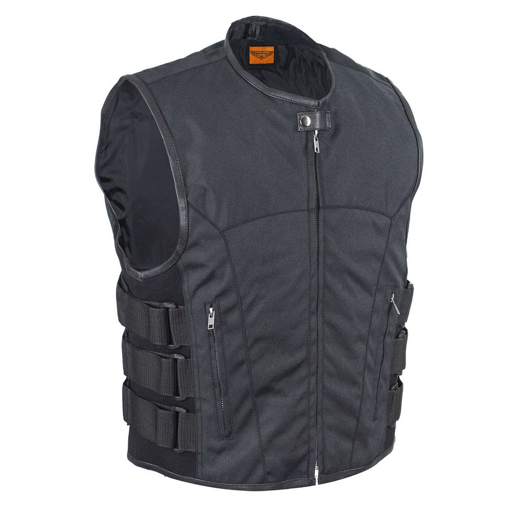 Men's Swat Style Black Textile Motorcycle Vest with Gun Pockets Side Straps