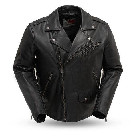 Men's The Enforcer Naked Leather Motorcycle Jacket Gun Pockets Armor Pockets Action Back