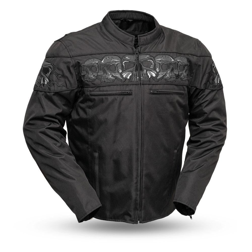 Men's Vented Cordura Reflective Skull Motorcycle Jacket With Gun Pockets