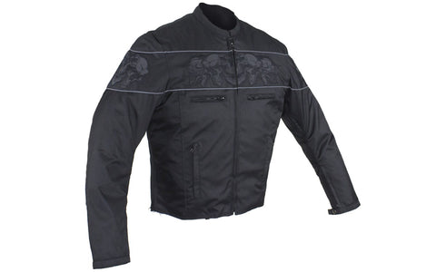Men's Vented Textile Concealed Carry Motorcycle Jacket with Reflective Skulls