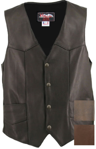 Men's Made in USA Black, Brown, Distressed Brown Naked Leather Basic Motorcycle Vest Leather Lined Gun Pockets