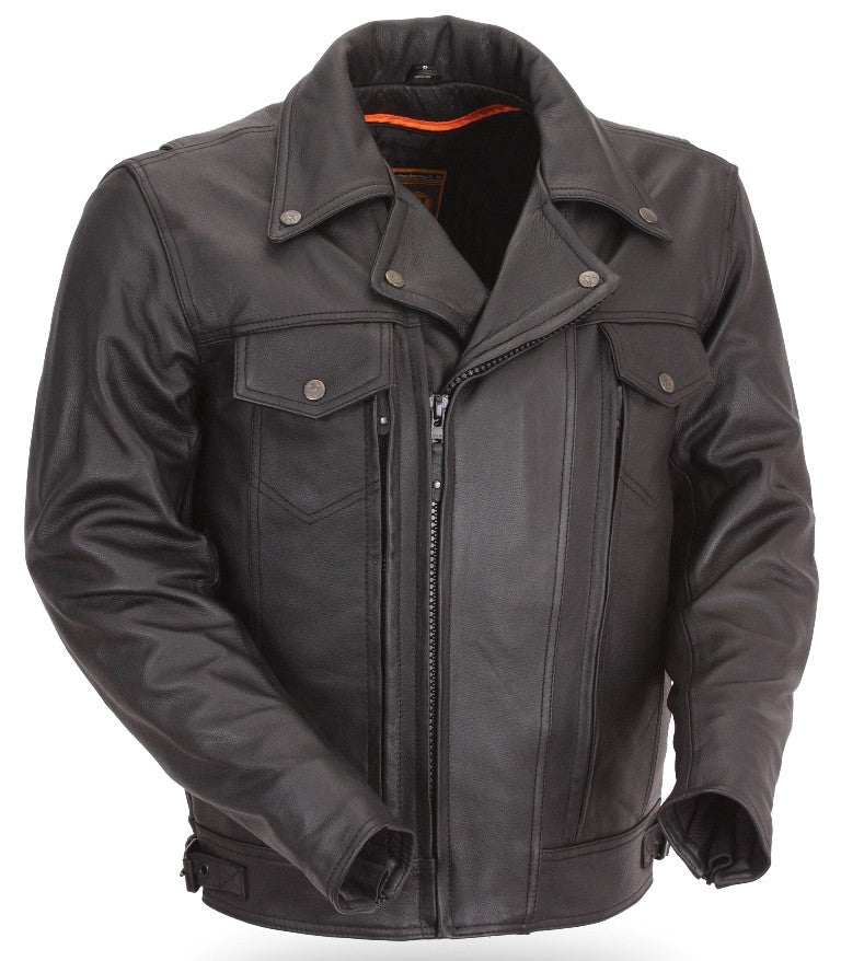 Men's Mastermind Black Leather Vented Motorcycle Jacket with Dual Utility Pockets