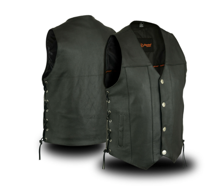 Mens Motorcycle Vest Buffalo Nickel Head Snaps Solid Back With Gun Pockets Side Laces