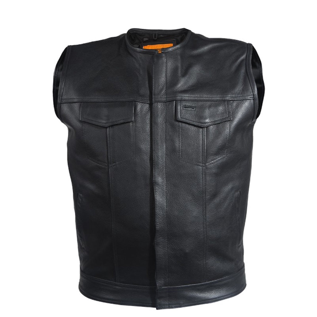"Mens 1/2"" Collar Naked Leather Motorcycle Club Vest With Gun Pockets Solid Back"