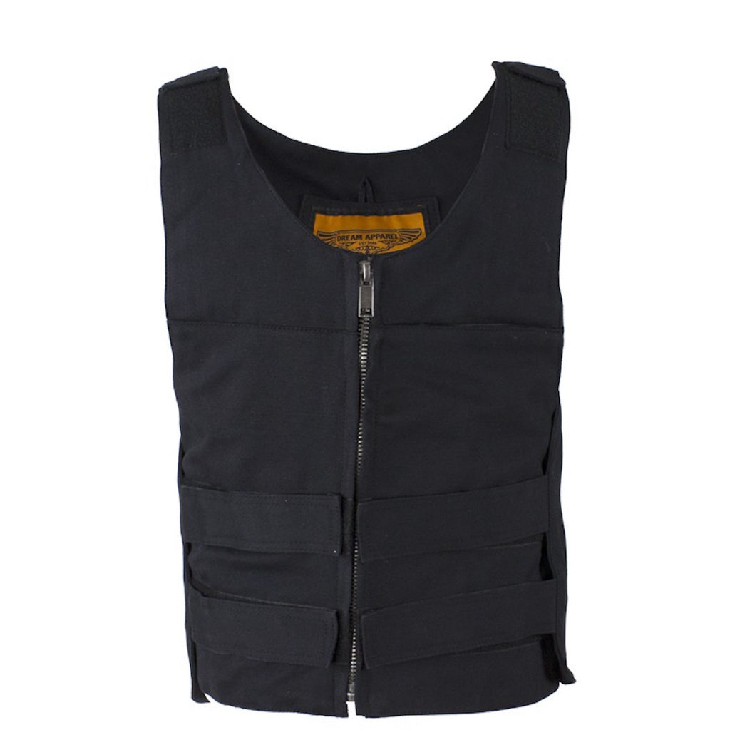 Mens Black Canvas Motorcycle Bullet Vest with Front Zipper Closure