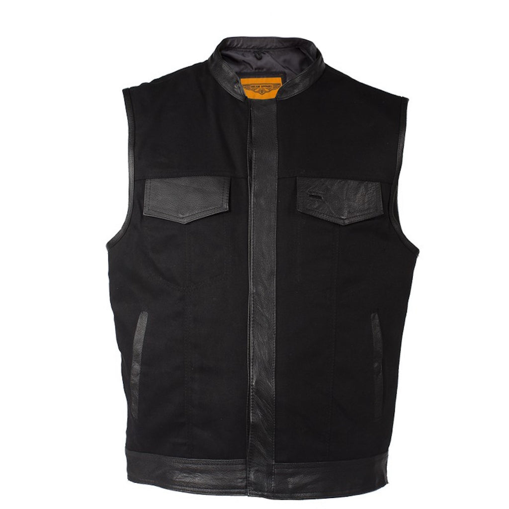 Mens Black Denim Motorcycle Vest With Leather Trims & Front Zip Up