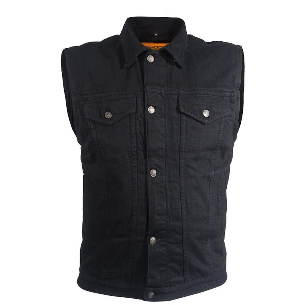 Mens Black Denim Motorcycle Vest Fold Down Collar With Button Snap Front
