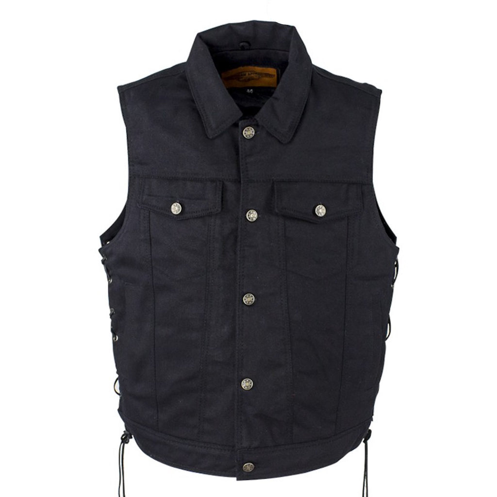 Mens Black Denim Motorcycle Vest Fold Down Collar Side Laces
