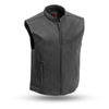 Mens Black Leather Zip Front Motorcycle Vest Solid Back for Patches Concealed Carry Pockets