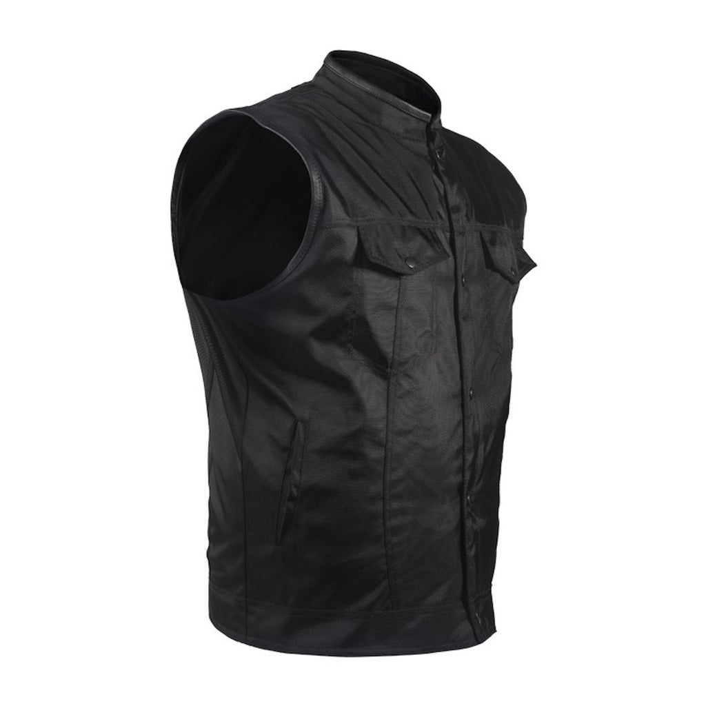 Mens Black Textile Motorcycle Club Vest With Snaps Gun Pockets Solid Back