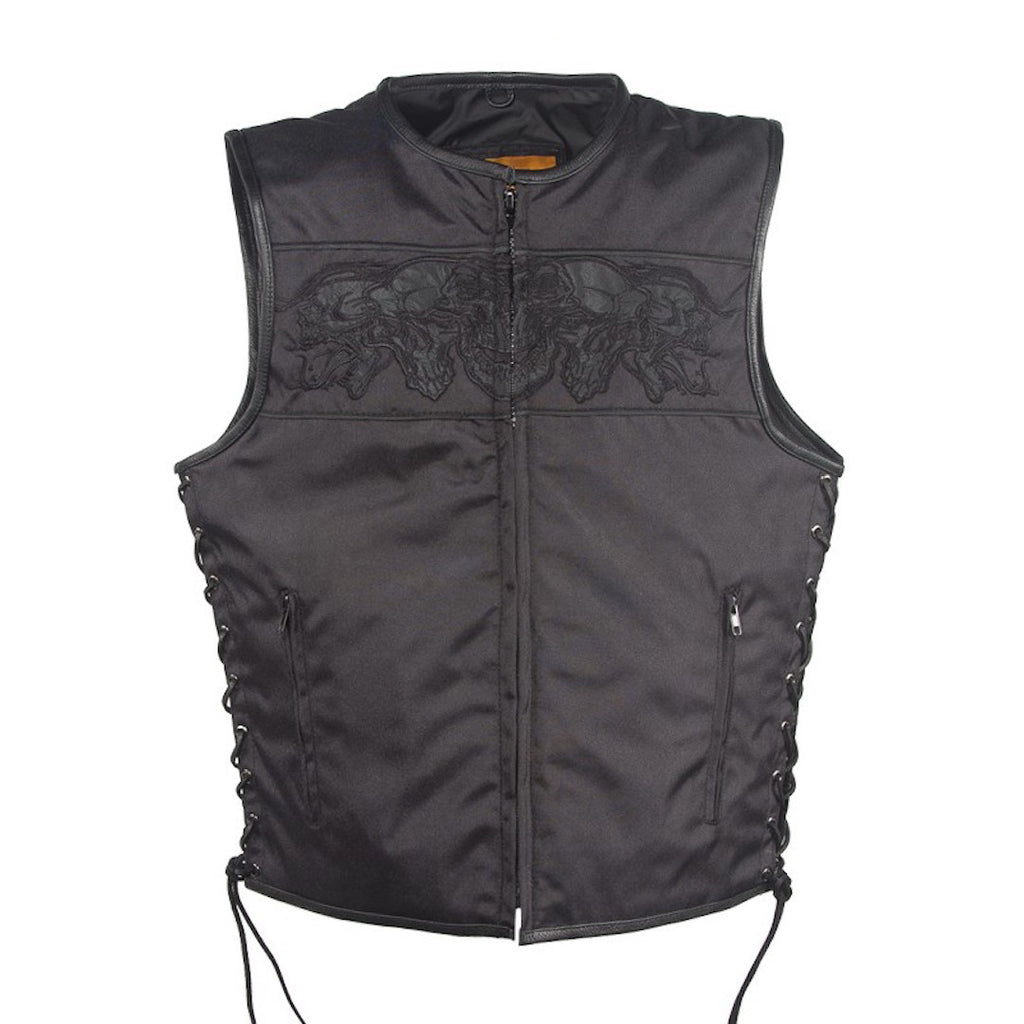 Mens Black Textile Motorcycle Vest With Reflective Skulls Across Chest And Back