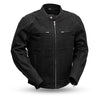 Mens Canvas Motorcycle Jacket With CE Armor Vented Back
