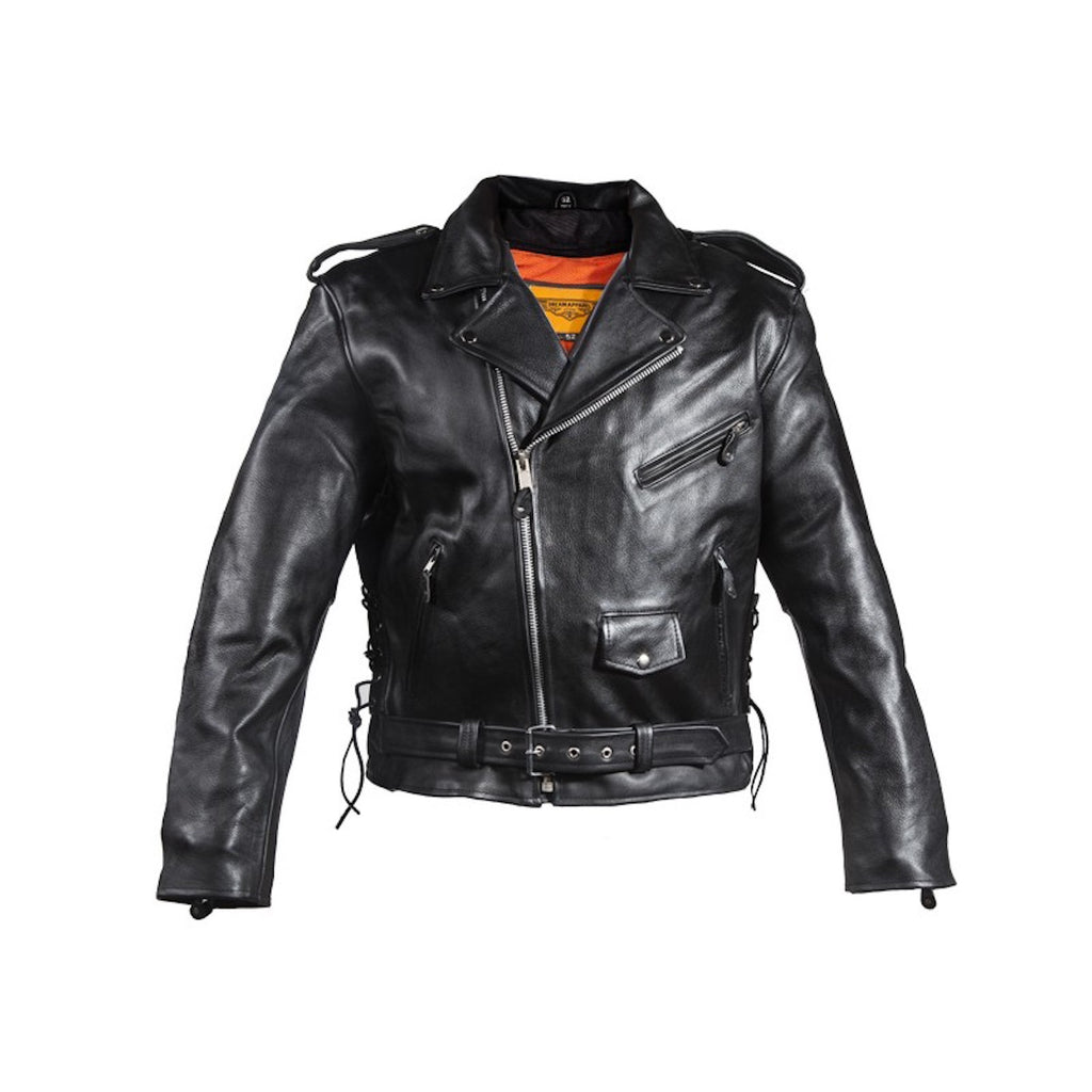 Mens Classic Police Style Split Leather Motorcycle Jacket With Side Laces