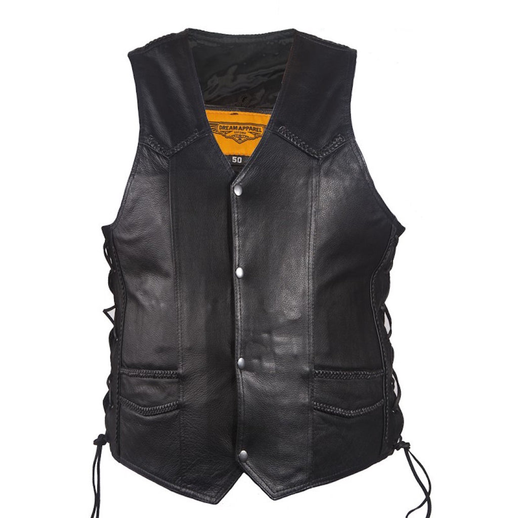 Mens Classic Style Leather Motorcycle Club Vest With Gun Pocket Braid Trim