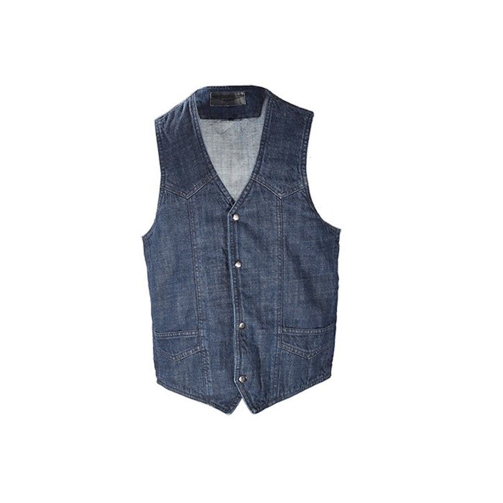 Mens Dark Blue Denim Motorcycle Vest Gun Pockets Solid Back