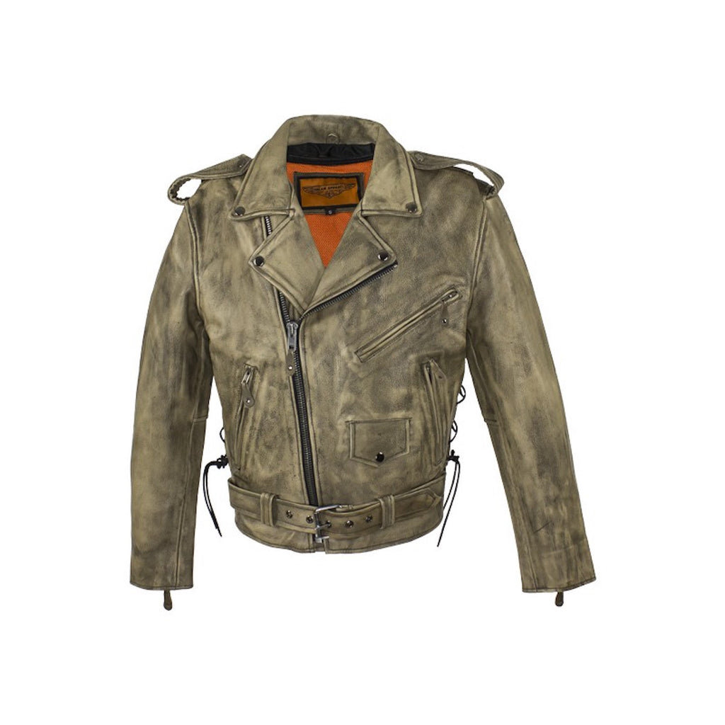 Mens Distressed Brown Classic Police Style Leather Motorcycle Jacket With Side Laces Solid Panel Back