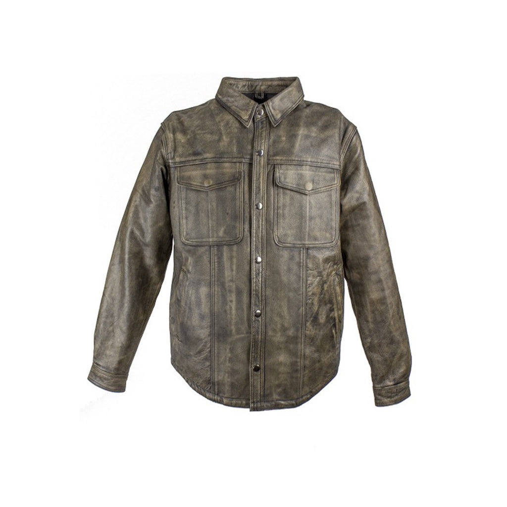 Mens Distressed Brown Leather Motorcycle Shirt With Concealed Carry Pockets
