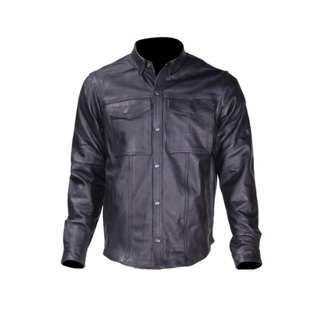 Mens Goatskin Leather Motorcycle Shirt With Concealed Carry Pockets