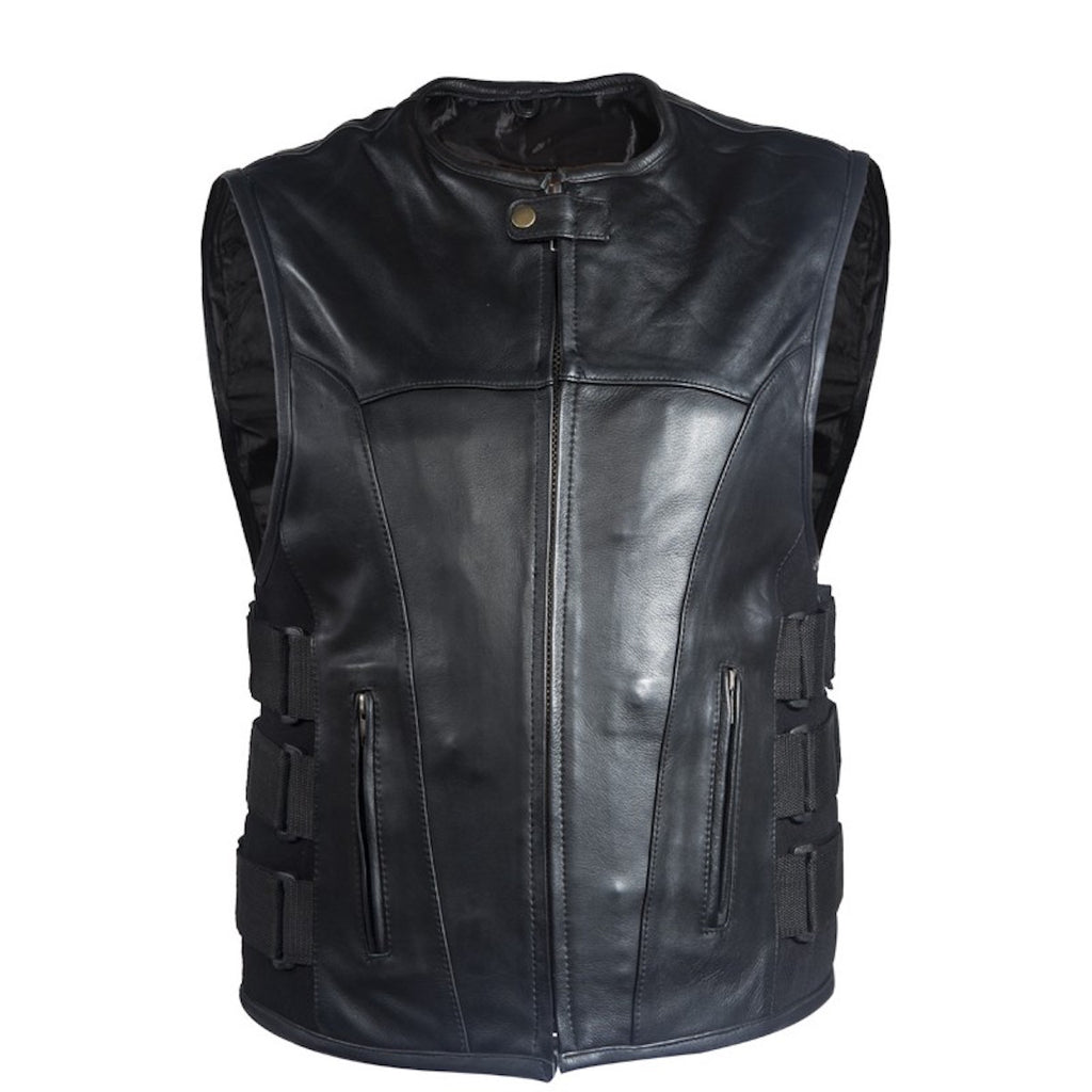 Mens Naked Leather Bullet Proof Style Motorcycle Vest With Velcro Straps Neoprene Sides Gun Pockets