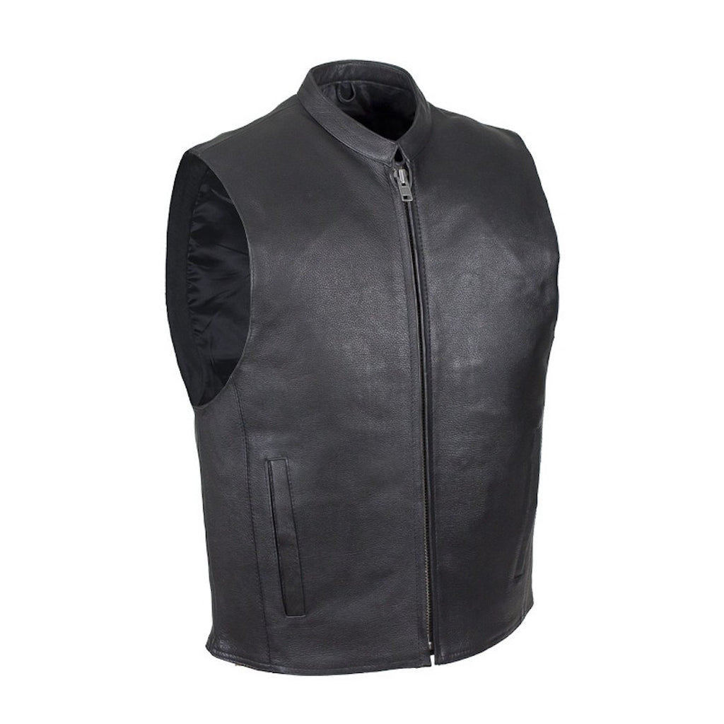 Mens Naked Leather Motorcycle Club Style Vest With Mandarin Stand Up Collar