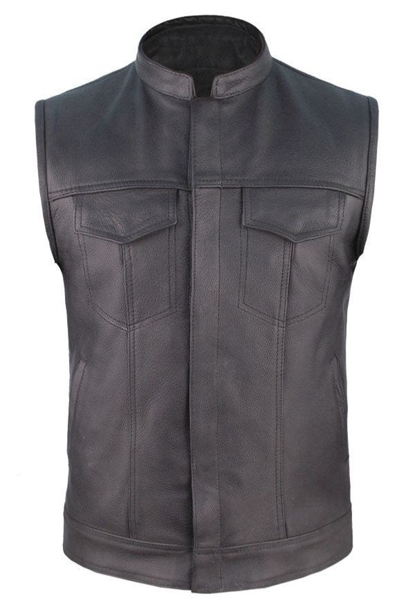 Mens Leather Motorcycle Club Vest Solid Back Concealed Snaps Chest Pockets