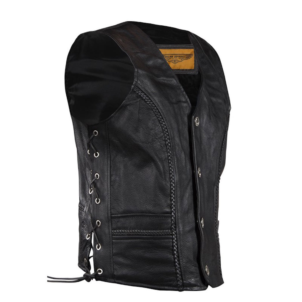Mens Leather Motorcycle Club Vest With Braid Trim Buffalo Nickel Snaps
