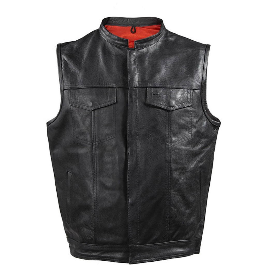 Mens Leather Motorcycle Club Vest With Gun Pockets Solid Back Mandarin Collar