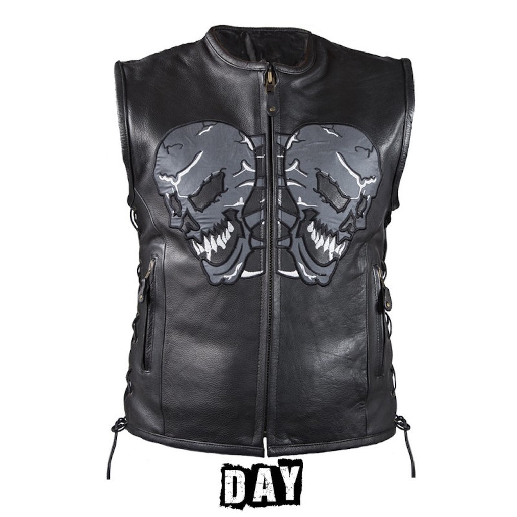 Mens Naked Leather Reflective Skull Motorcycle Vest With Side Laces