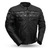Mens Leather Vented Motorcycle Jacket Reflective Savage Skulls Gun Pockets Armor Pockets