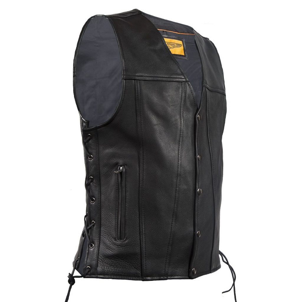 Mens Leather Vest With Concealed Gun Pockets Side Laces Solid Back