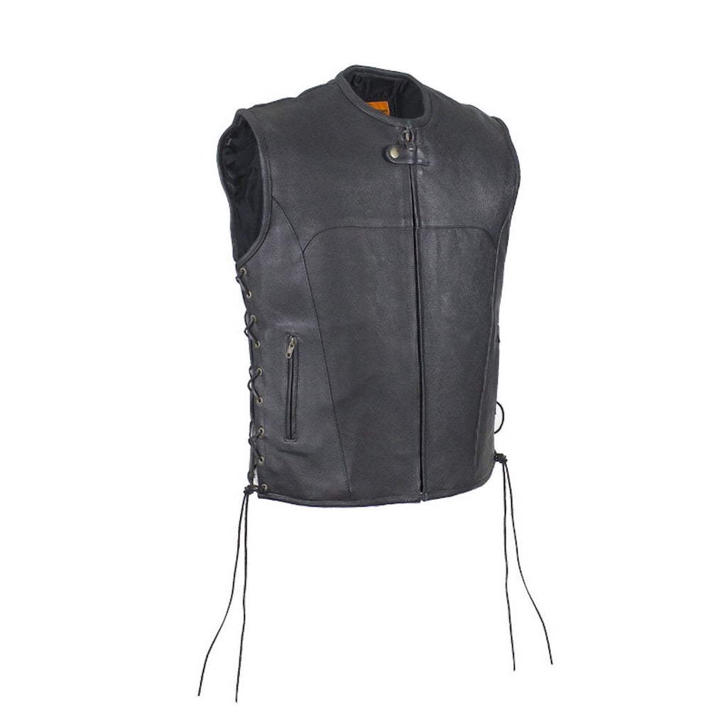 Mens Naked Leather Zippered Motorcycle Club Vest With No Collar