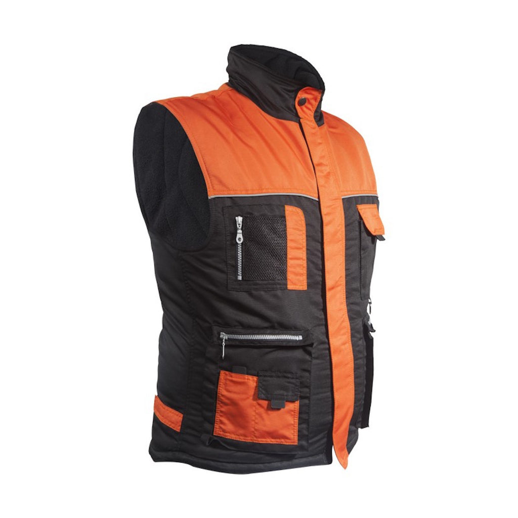 Mens Light Weight Leather Mesh Cargo Vest Orange and Black