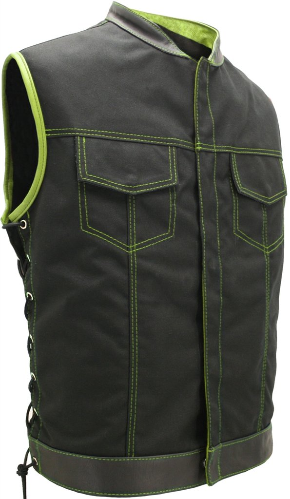 Mens Made in USA Lime Green Military Grade Cordura Motorcycle Vest Hidden Snaps Gun Pockets