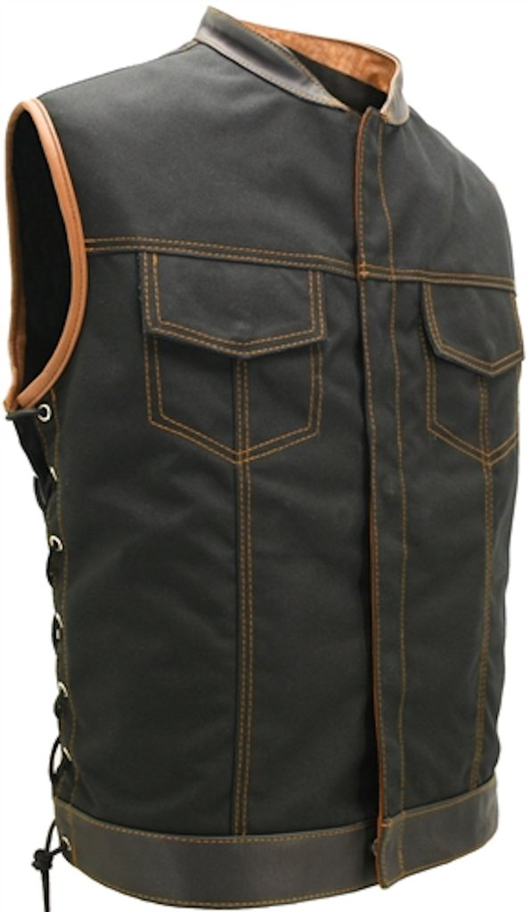 Mens Made in USA Black And Orange Military Grade Cordura Motorcycle Vest Hidden Snaps