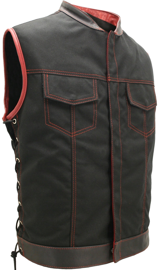 Mens Made in USA Black And Red Military Grade Cordura Motorcycle Vest Hidden Snaps