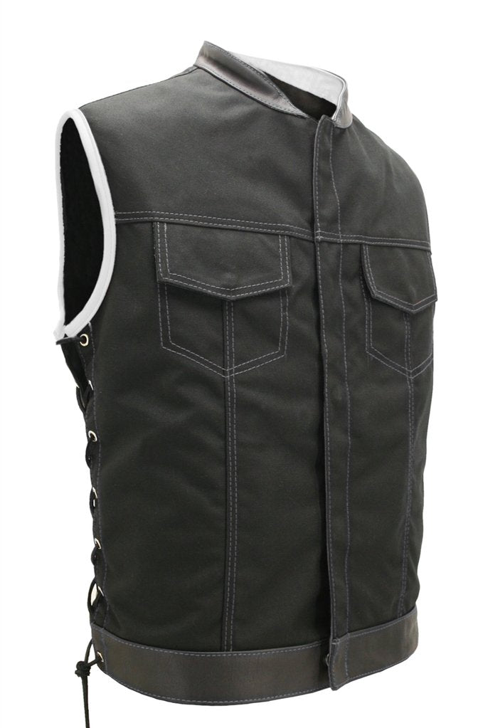 Mens Made in USA Black And White Military Grade Cordura Motorcycle Vest Hidden Snaps