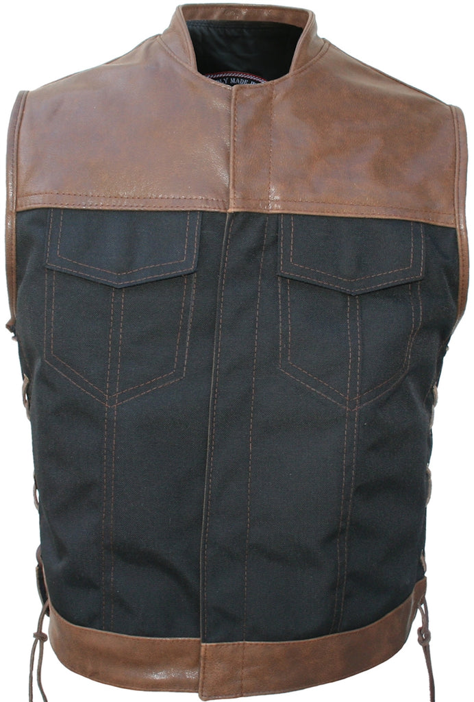 Mens Made in USA Black/Brown Leather & Cordura Motorcycle Vest Stand Up Collar
