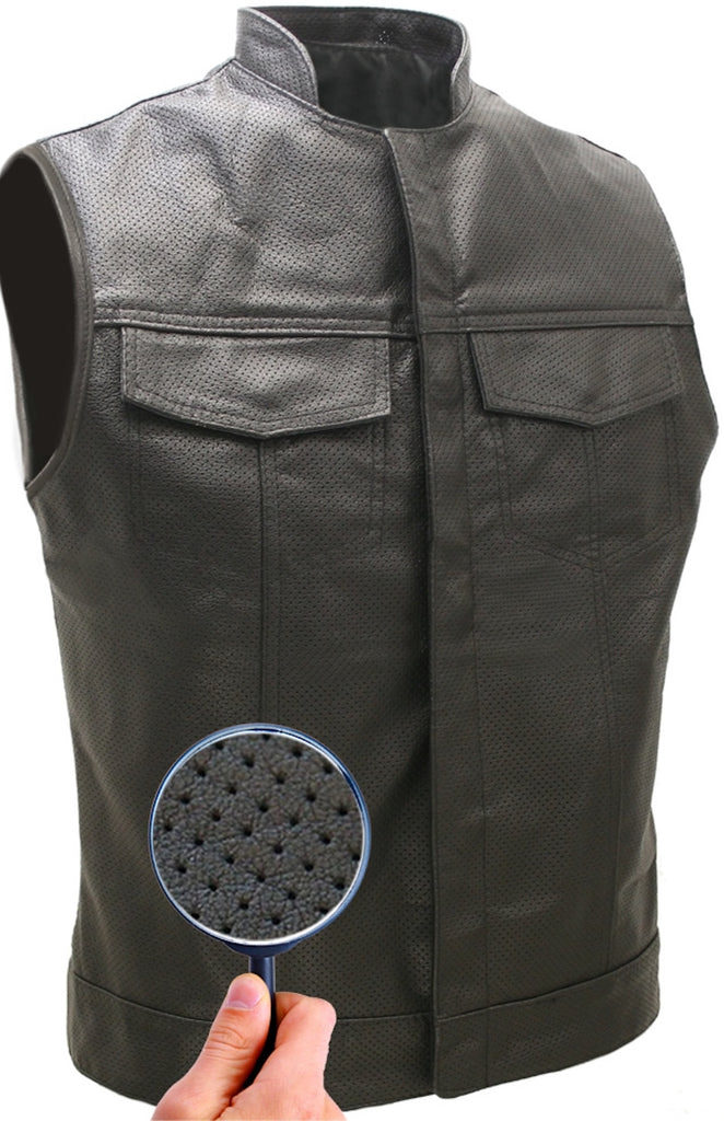 Mens Made in USA Black Perforated Leather Stand Up Collar Motorcycle Vest Gun Pockets