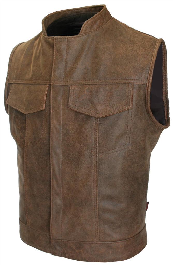 Mens Made in USA Brown Vintage Leather SOA Style Stand Up Collar Motorcycle Vest Gun Pockets