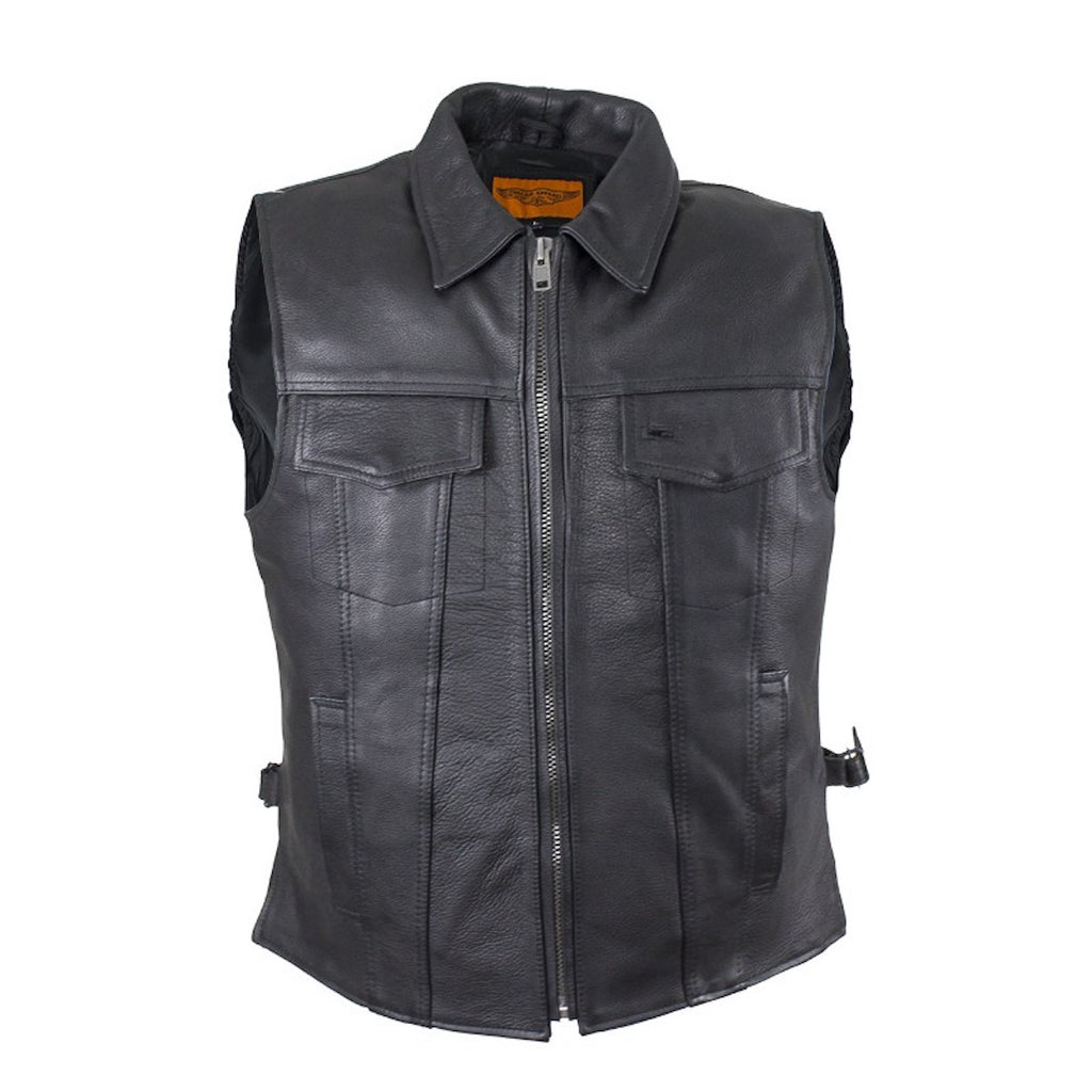 Mens Motorcycle Club Leather Vest With Fold Collar & Hidden Snaps