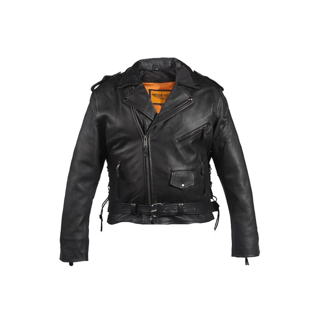 Mens Classic Police Style Naked Leather Motorcycle Jacket With Side Laces Solid Panel Back