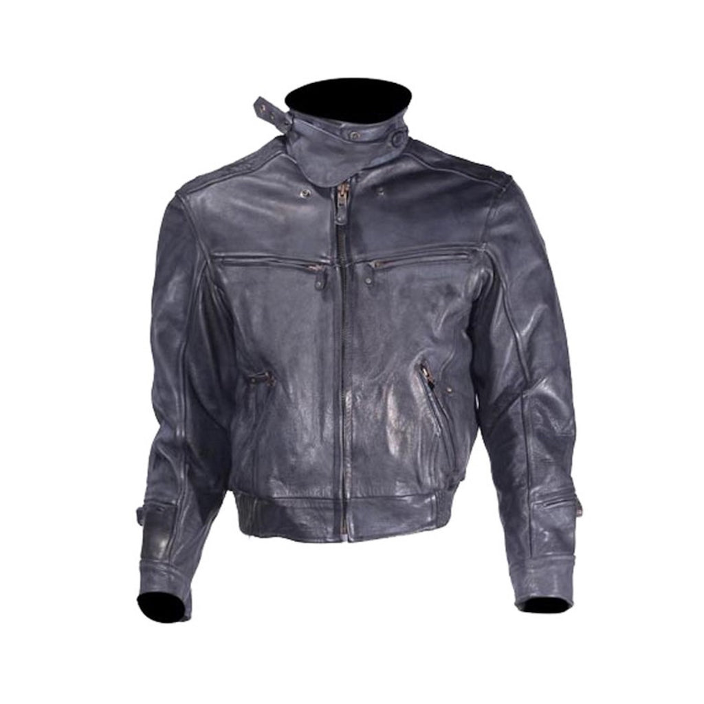 Mens Naked Cowhide Racer Style Vented Motorcycle Jacket Solid Back