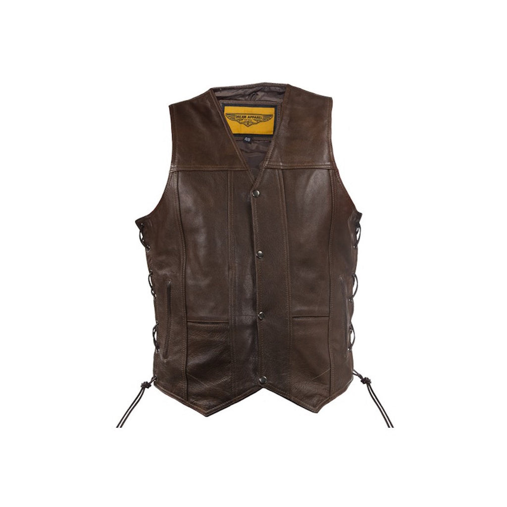 Mens 10 Pocket Brown Naked Leather Motorcycle Vest