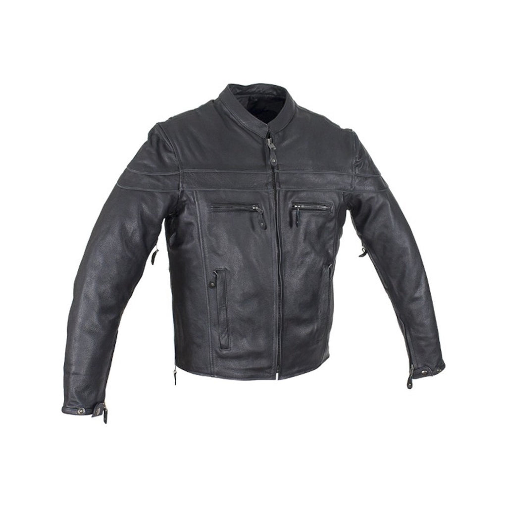 Mens Naked Leather Cruising Jacket With Front And Back Air Vents Gun Pockets